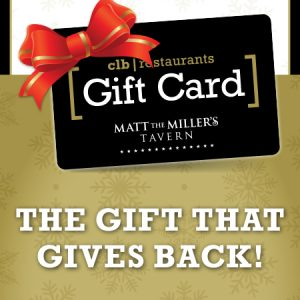 Mat the Miller's logo on a gift card with a red bow on it and promotional text below it that reads The Gift That Gives Back!